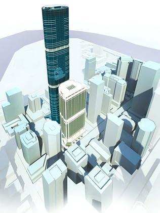 План строительства высотной башни Скайтауер в Брисбене.