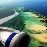 Вид сверху на лагуну Домашнего острова, одного из Кокосовых островов.