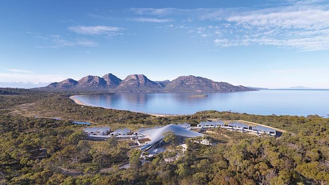Бутик-отель Saffire Freycinet сверху похож на рыбу. Тасмания.