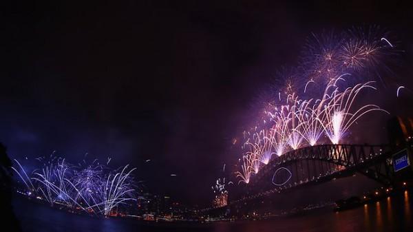 Новогодние фейерверки в Сиднее.